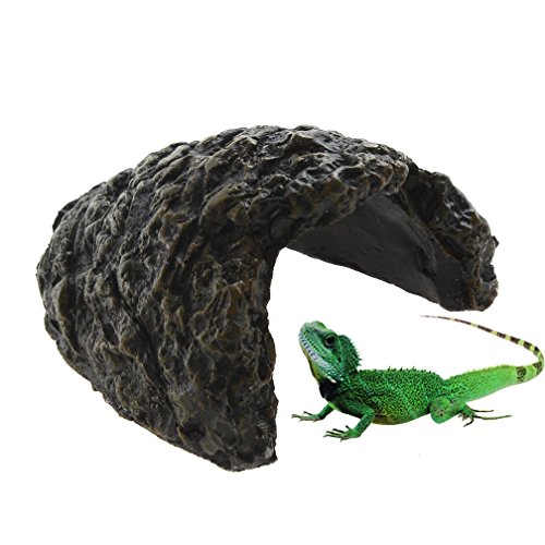 Emours Reptile Turtle Hideout Resin Climb Stone Aquarium Decor Tortoise Lizard Gecko Rock Cave (House Lizard)