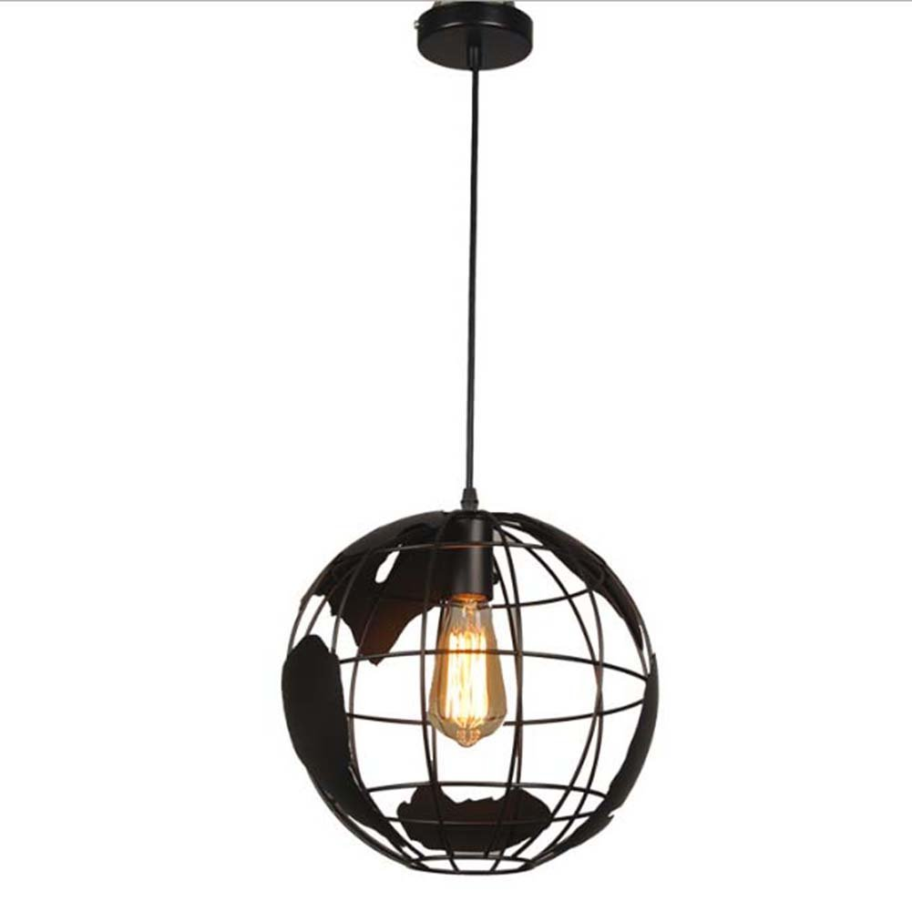 Tellurion Globe Pendant Light, SUN RUN Creative Ceiling Lamp Hanging Metal Wire Cage Chandelier for Children Bedroom Living Room Bar Coffee (Black)