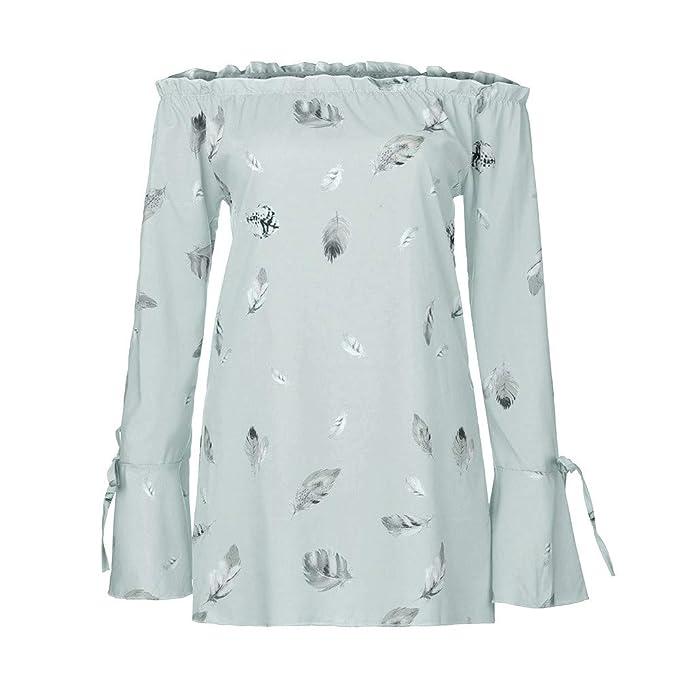 Belasdla Elegante Camisa De Manga Larga Moda TamañO Grande Imprimir Flor Camisa Un Hombro Top