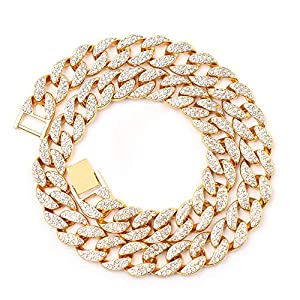 Best Epic Trends 51CfYmPuynL._SS300_ Cuban Link Necklace for Men - Hip Hop Necklace Iced Out with Bling Rhinestones, Fashion Accessory for Hip Hop Lovers