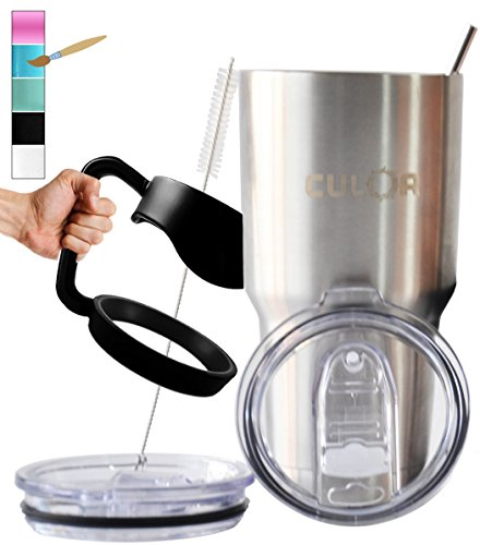 Silver CULOR LIMITED EDITION Spill Protected Tumbler Sets. Premium Stainless Steel Travel Mug (30oz) & Warranty FOREVER. The Perfect Water Bottle, FREE $22.99 BONUS