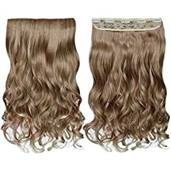 """REECHO 20"""" 1-Pack 3/4 Full Head Curly Wave Blonde Mixed Hair Color Clips in on Synthetic Hair Extensions Hairpieces for Women 5 Clips 4.6 Oz per Piece - 27T613"""