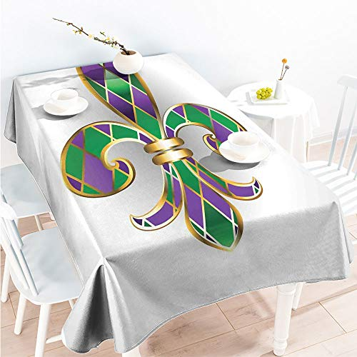 ScottDecor Outdoor and Indoor Use Tablecloth Rectangular Table Covers Gold Colored Lily Symbol with Diamond Shapes Royalty Theme Ancient Art W 60
