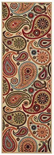 custom size runner beige multicolor paisley floral nonslip nonskid rubber back stair hallway rug by feet 22 inch wide select your length