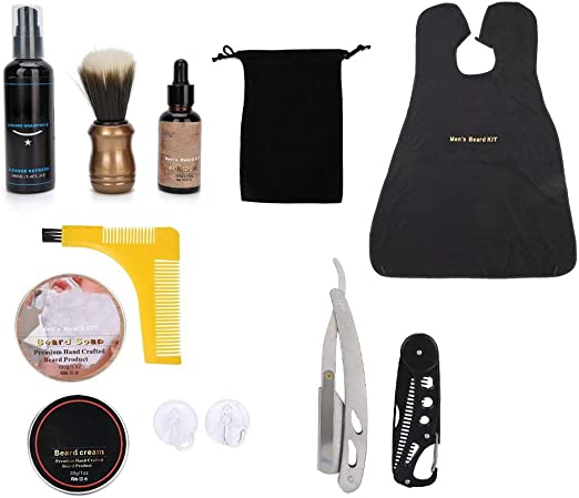 Cosiki Kit de afeitadora de Delantal, Aceite de Barba, champú para Barba, Cepillo de jabón, Peine de Peinado, Kit de Aseo de afeitadora de Delantal: Amazon.es: Hogar