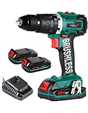 """Cordless Drill Driver,Brushless 20V Hammer Drill with 2Pcs 2.0Ah Battery Combi Drill Set,50N.m Electric Screwdriver,19+3 Torque,2-Variable Speed,1/2"""" Metal Chuck Impact Drill"""