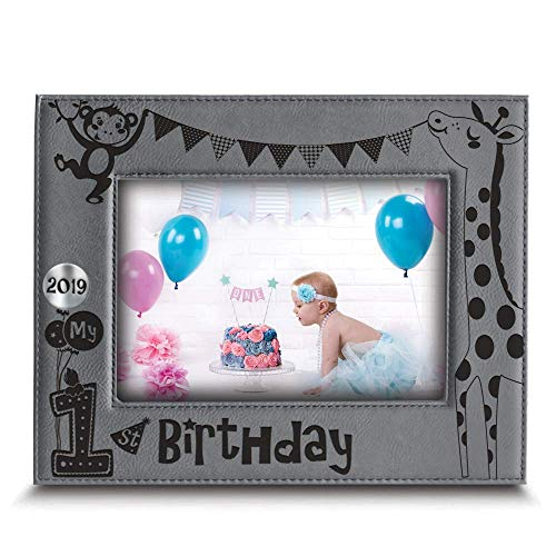 BELLA BUSTA- My First Birthday 2019 Picture Frame- 1st Birthday Gift- Baby's First Birthday Frame- Engraved Leather Picture Frame (5
