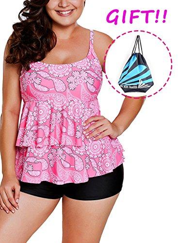 Sylaon Two Piece Women's Swimsuits Plus Size Tankini Set A-Tops Over Bottom Swimwear Bikini (US 14-16/XL, C-Pink Paisley Print+Pants)