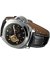 Carrie Hughes Mens Luxury Tourbillon Stainless steel Waterproof Skeleton Mechanical Leather Automatic watches...