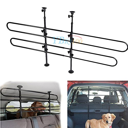 Estink Universal Pet Barrier,2 Bar Heavy-Duty Adjustable Pet Dog Secure Travel Grill Guard Barrier Fence for Auto Mesh Cars, Vans, SUV's, and Trucks ()