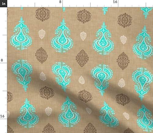 Indian Fabric - Sari India Bohemian Paisley Print on Fabric by The Yard - Sport Lycra for Swimwear Performance Leggings Apparel Fashion