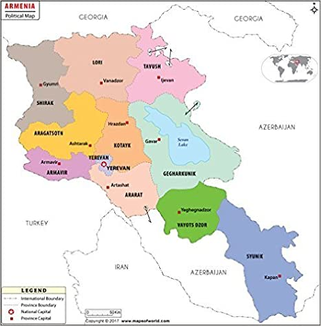 Amazon.com : Armenia Political Map (36\
