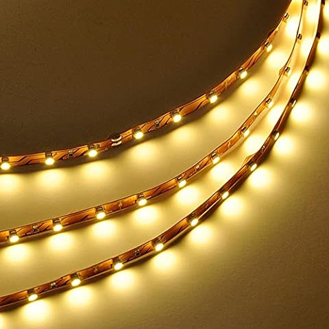 LEDwholesalers 16.4 Feet (5 Meter) Flexible LED Light Strip with 300xSMD3528 and Adhesive Back, 12 Volt, Warm White 3100K, 2026WW-31K
