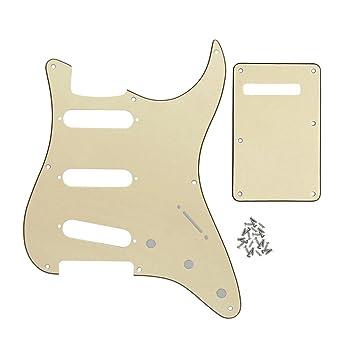 FLEOR SSS 8 agujero Strat guitarra eléctrica golpeador y guitarra Trem cubierta juego para Vintage Strats Style partes de guitarra, 4ply Red Tortuga ...