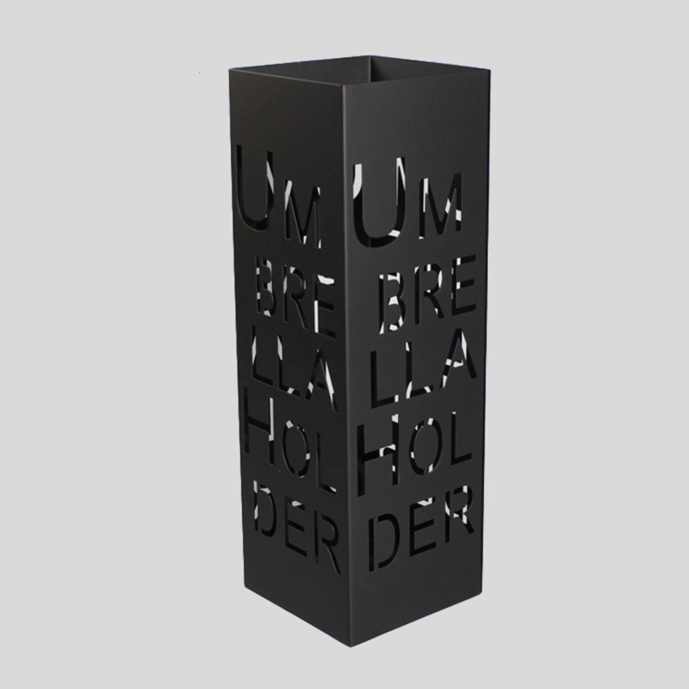 QFFL yusanjia クリエイティブスクエアアイアンアート傘スタンド/ファッションレター玄関バルコニー傘収納棚/世帯大容量防湿傘スタンド(2色可能) 屋外傘立て ( 色 : ブラック ) B07CKLCXTVブラック
