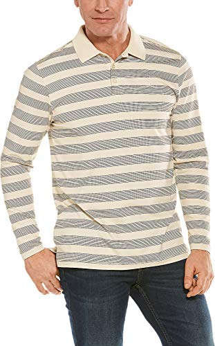 Coolibar UPF 50+ Men's Long Sleeve Weekend Polo Shirt - Sun Protective (X-Large- Cream/Black Rugby -