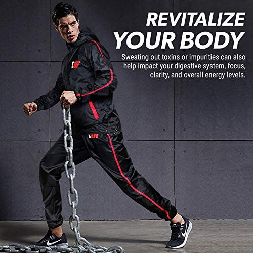 DMoose Sauna Suit for Men and Women, Sweat Suit for Weight Loss 2 Pc Set, Zipper Jacket Pant with Hood Full Body Gym Fit Wear, Anti-Rip Workout Suit Sports Running Cycling Yoga Pilates Boxing Anti-Rip 5