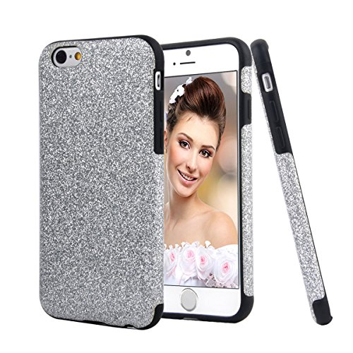 iPhone 7 Case, HESPLUS Glitter Bling Sparkle [Anti-Shock] [Scratch Resistant] Soft Gel Flexible TPU Case for iPhone 7 (4.7 Inch) - Silver (Anti Shock)