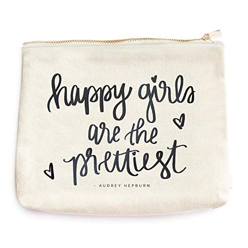 Happy Girls Are The Prettiest Canvas Makeup Bag | Audrey Hepburn Quote Make-Up Organizer Travel Accessories Toiletry Holder Pencil Case Bridesmaid Cosmetic Gift for Her Hand Lettered...