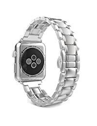Apple Watch Band Series 3 Band, MoKo Stainless Steel Metal Replacement Smart Watch Strap Bracelet for iWatch 38mm 2017 Series 3 / 2 / 1 - SILVER (Not Fit iWatch 42mm 2016)