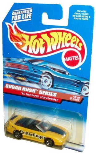 Mattel Hot Wheels 1997 Sugar Rush Series 1:64 Scale Die Cast Metal Car # 4 of 4 - Nestle Butterfinger Yellow Sport Coupe 1996 Mustang Convertible (Collector No. 744) ()