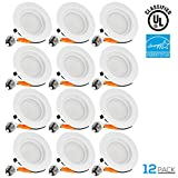 12 PACK Wet Location 4-inch Dimmable Recessed LED Downlight, 13W (85W Equivalent), ENERGY STAR, 5000K Daylight, 850lm, Retrofit LED Recessed Lighting Fixture, 5 YEAR WARRANTY