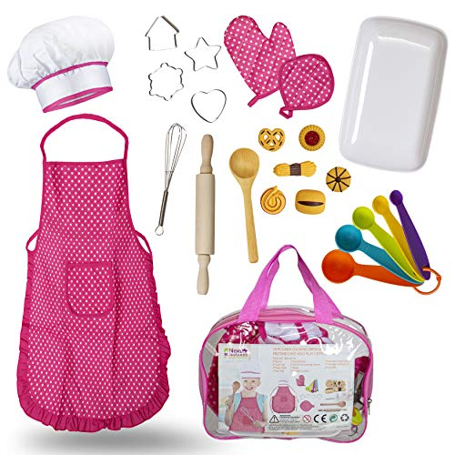 Chef Costume for Kids 19pc accessories include Apron, Chef Hat, Oven Mitt, Hand Mixer, Cookie Cutters, Measuring Spoons, Wooden Rolling Pin, Wooden Ladle Mixer and Bag for Toy Storage