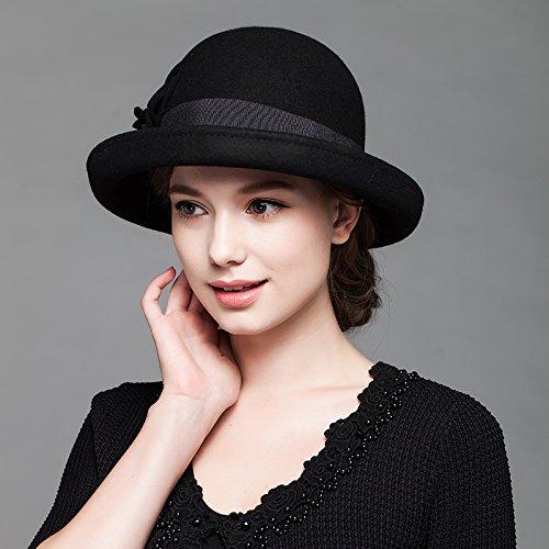 Otoño Gorra Elegante Negro Top Flores Hat Sra Fqg Pura Fieltro Invierno Round Estilo la Sombreros E Lana Engastado De 4qHxEXw