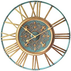 Infinity Instruments Parisian Gold Clock, Turquoise