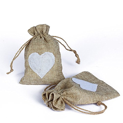 50pcs/Pack Brulap Candy Gift Pouch Bags with String Birthday Wedding Party Gift Jewlery Pouches Party Favor Jute Gift Bags (Jute Drawstring, Brown with White Heart)