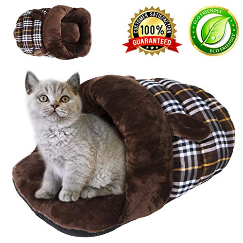 KAIYANG Warm Winter Soft Plush Sleeping Bed for Cats, Self-Warming Cat Bed Indoor Pet Triangle Nest (M, Coffee Rabbit)