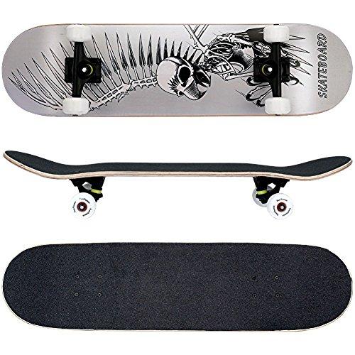 FunTomia® Skateboard mit ABEC-11 Kugellager und Rillen-Profil Rollen (Rollenhärte 100A) aus 100% 7-lagigem kanadischem Ahornholz (Es stehen verschiedene Farbdesigns zur auswahl) (Geier Silber)