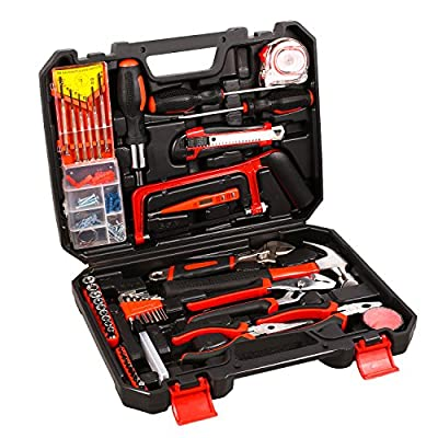 Oanon 108 Piece Home Tool Kit - General Household Repair Tool Kits Set for Home Maintenance with Plastic Toolbox Storage Case