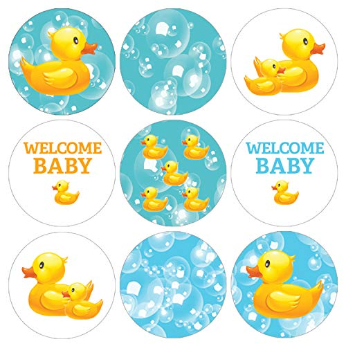 DISTINCTIVS Rubber Ducky Bubble Bath Baby Shower Favor Labels - 216 Stickers ()