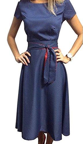 TOP-AK Damen Retro Hepburn Dot Taille Große Schaukel Kleid Faltenrock Sommerkleid mit Schleifen Abendkleider Partykleid, Blau, S-34