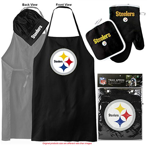 Pittsburgh Steelers (Apron & Oven Mitt Pot Holder) Bonus Bottle Opener, Barbeque Apron and Chef's Hat , NFL Licensed Chefs Barbecue Mitts