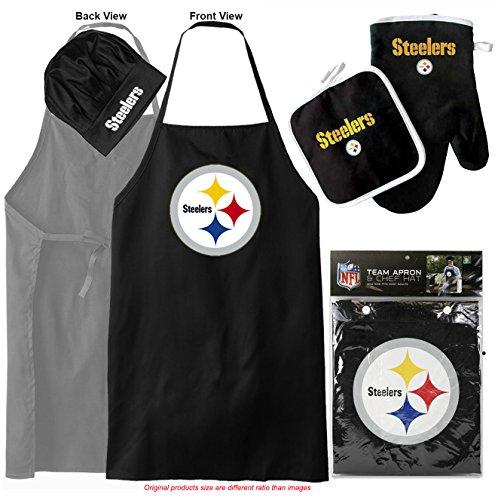 - Pittsburgh Steelers (Apron & Oven Mitt Pot Holder) Bonus Bottle Opener, Barbeque Apron and Chef's Hat , NFL Licensed