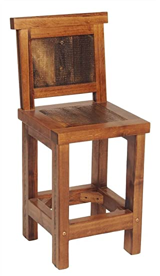 Rustic Wood Bar Stool w Back  sc 1 st  Amazon.com & Amazon.com: Rustic Wood Bar Stool w Back: Kitchen u0026 Dining islam-shia.org