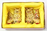 "Feng Shui Gold Pair 3"" Fu Foo Dog Guardian Lions Wealth Protection Statue Figurine Housewarming Office Store Grand Opening & Congratulatory Gift"