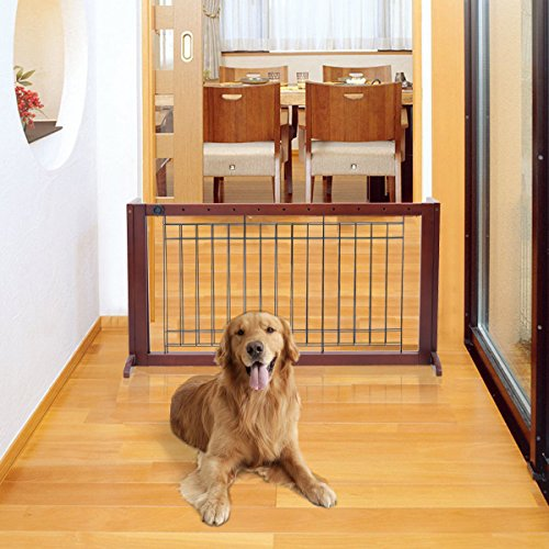 Price comparison product image Safstar Adjustable Freestanding Wooden Pet Dog Gate Solid Fence Playpen for Indoor Home and Office Use