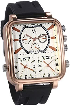 Mens Military Wrist Watch Large Face Two Time Zone Brown Leather Strap Analog Display Men Watch by JewelryWe