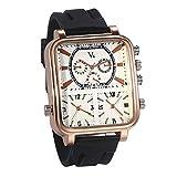 JewelryWe Mens Three Time Zone Watch Big Square Dial Quartz Watch Black Silicon Watchband Wrist Watch