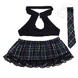 YiZYiF Women Plus Size School Girl Uniform Mini Plaid Skirt Tie Cosplay Costume