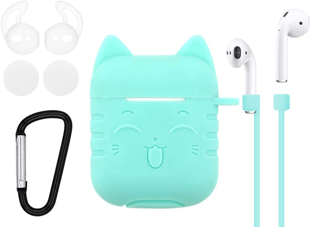 IiEXCEL Airpods Case Smile Cat Cartoon, 5 in 1 Airpods Accessories Kits Adorable Lovely Lucky Cat Silicone Cover with Keychain Ear Hook Strap Foam Earbuds for Apple Airpods Charging Case (Green)