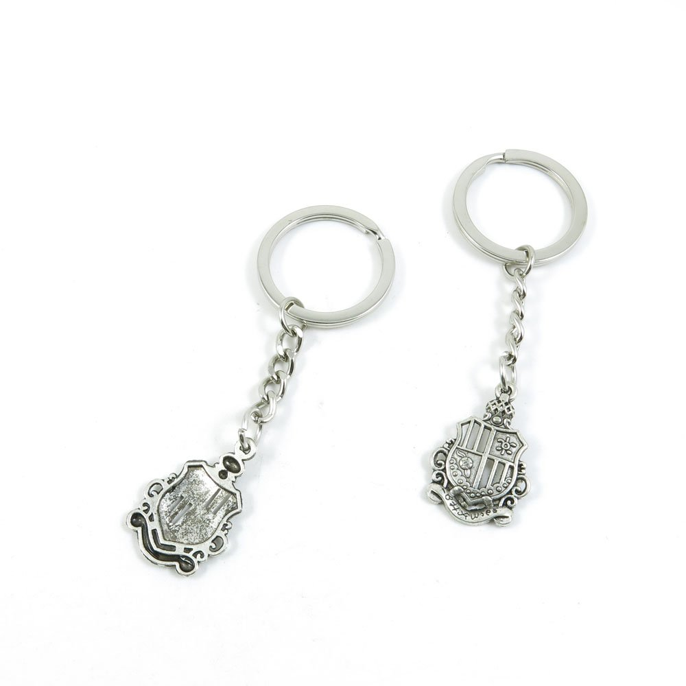 100 Pieces Keychain Door Car Key Chain Tags Keyring Ring Chain Keychain Supplies Antique Silver Tone Wholesale Bulk Lots F5MN1 Crown Shield