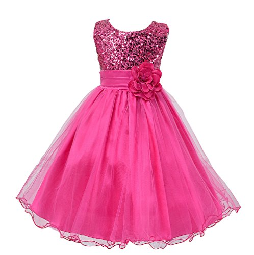 Wocau Little Girls' Sequin Mesh Tull Dress Sleeveless Flower Party Ball Gown (120(4-5 Years), Rose) ()