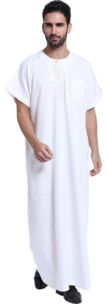 Ababalaya Men's Short Sleeve Scoop Neck Embroidered Muslim Thobes Dishdasha Easter Wear, White, XXL
