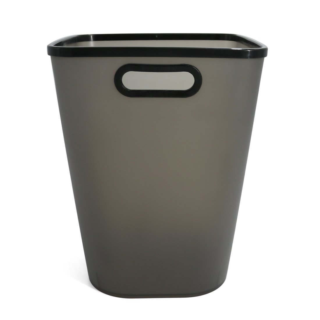 Paper Wastebasket Without Lid Fcoson Plastic Storage Garbage Can with Handle Large Frosted Trash Bin for Kitchen Bathroom Office Cabinet Black
