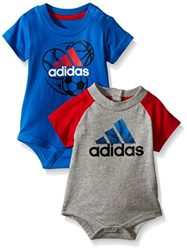 adidas Baby Boys' 2 Pack Bodysuits, Assorted, 6 Months