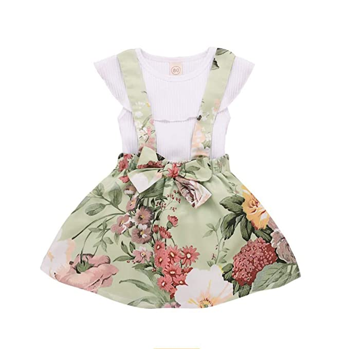 Vestido de Niña Floral Bowknot Vestido de la Honda Princesa Vestido Bautizo Bebé Niñas Vestidos de Sin Manga Primavera Verano Ropa para 6-48 Meses: ...